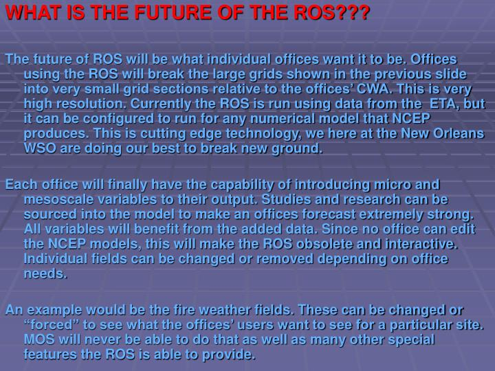 WHAT IS THE FUTURE OF THE ROS???