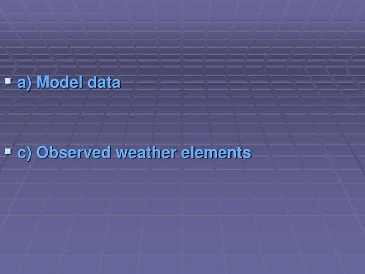 a) Model data