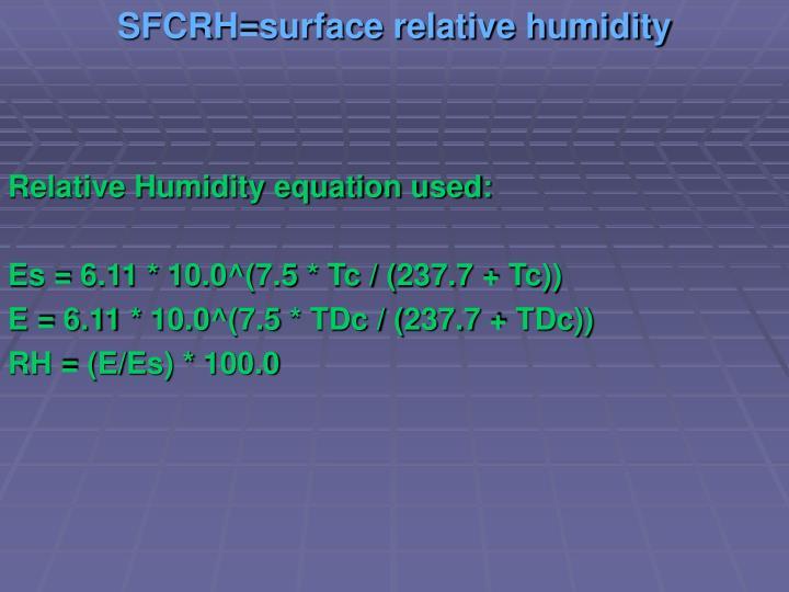 SFCRH=surface relative humidity