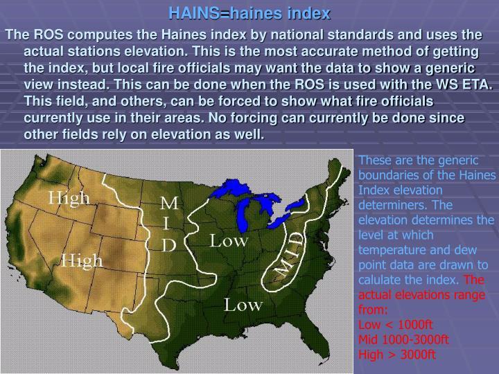 HAINS=haines index