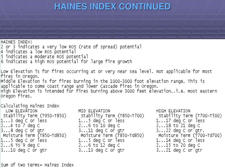 HAINES INDEX CONTINUED
