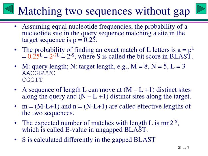 Matching two sequences without gap