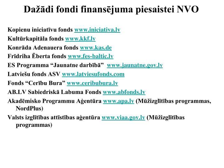 Dažādi fondi finansējuma piesaistei NVO