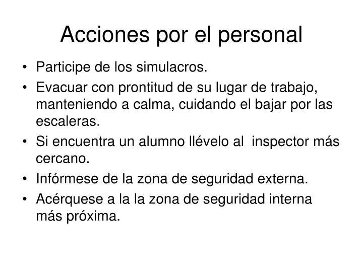 Acciones por el personal