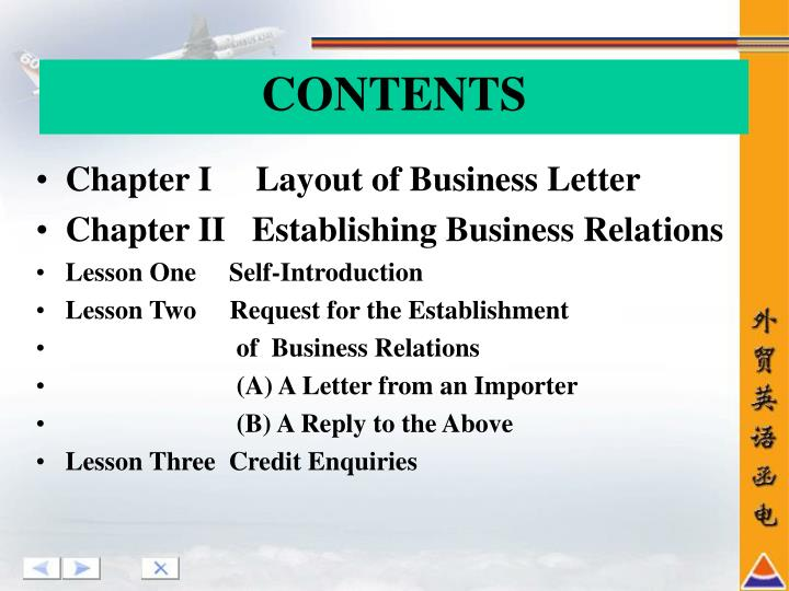 Chapter I     Layout of Business Letter