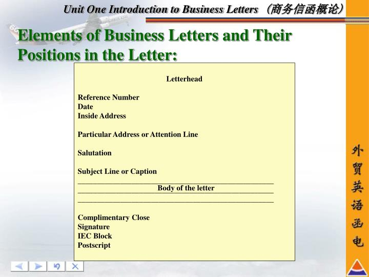 Unit One Introduction to Business Letters