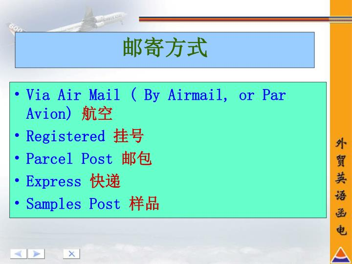 Via Air Mail ( By Airmail, or Par Avion)