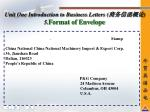 unit one introduction to business letters 5 format of envelope