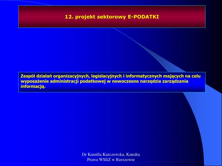 12. projekt sektorowy