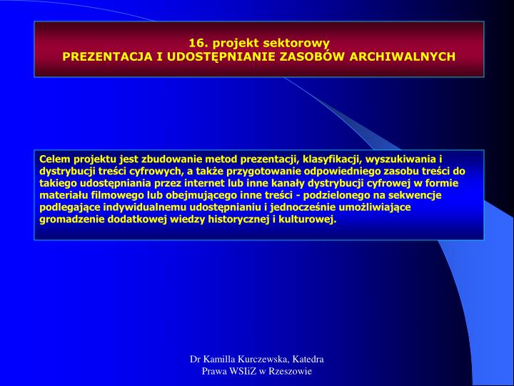 16. projekt sektorowy