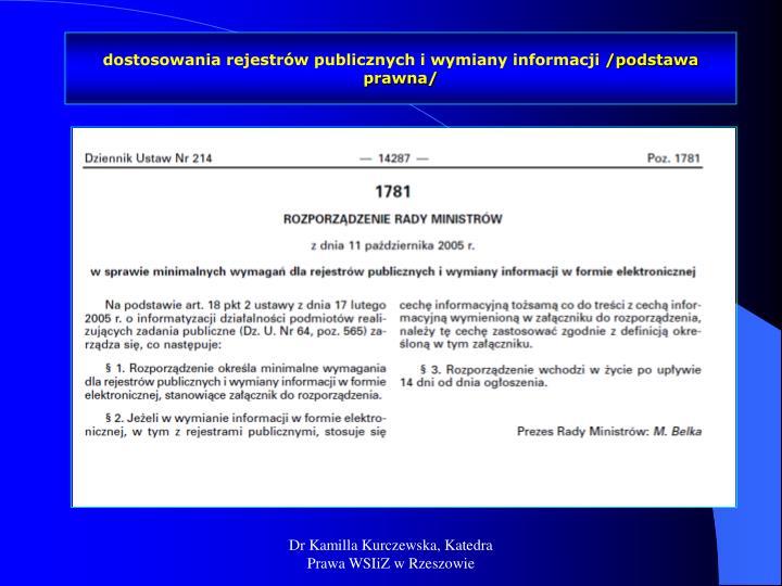 dostosowania rejestrów publicznych i wymiany informacji