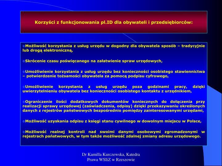 Korzyści z funkcjonowania pl.ID dla obywateli i przedsiębiorców: