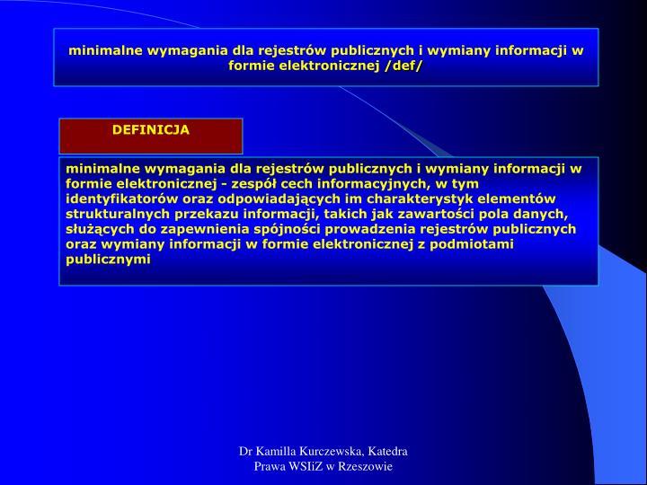 minimalne wymagania dla rejestrów publicznych i wymiany informacji w formie elektronicznej