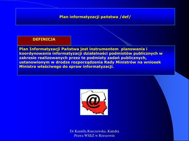 Plan informatyzacji państwa /