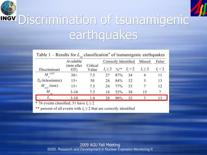 Discrimination of tsunamigenic earthquakes