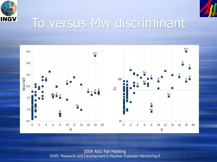 To versus Mw discriminant