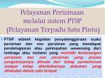 pelayanan perizinaan melalui sistem ptsp pelayanan terpadu satu pintu