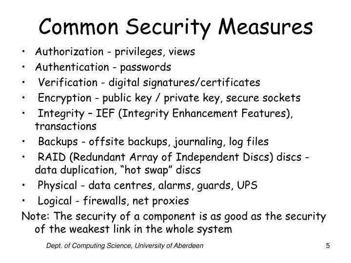 Common Security Measures