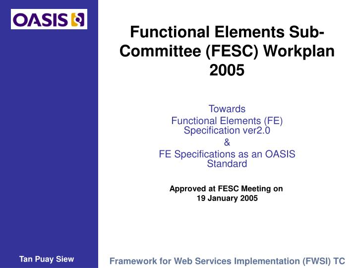 Functional elements sub committee fesc workplan 2005