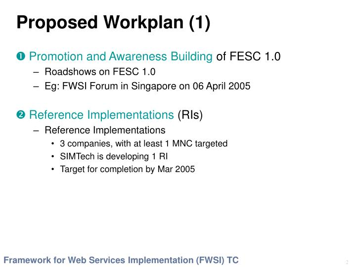 Proposed workplan 1