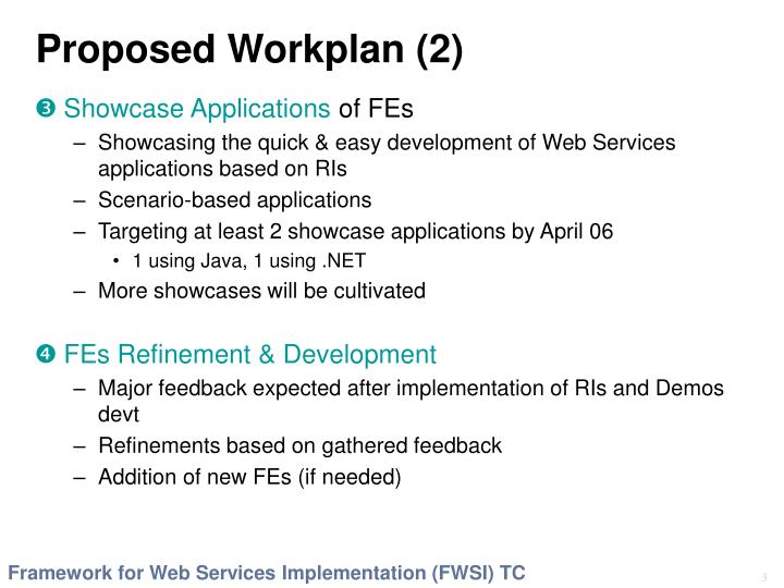 Proposed workplan 2