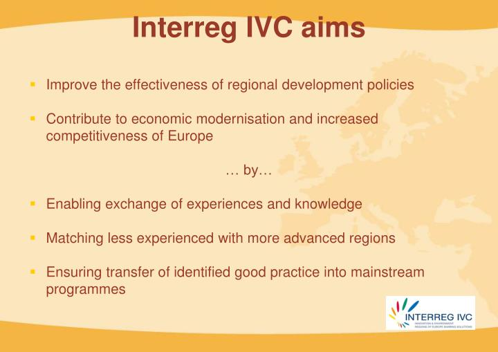 Interreg IVC aims