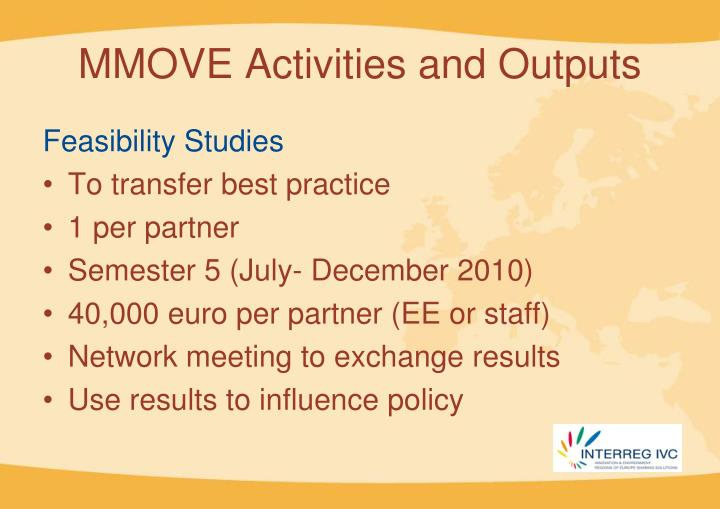 MMOVE Activities and Outputs