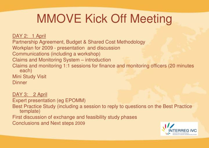 MMOVE Kick Off Meeting