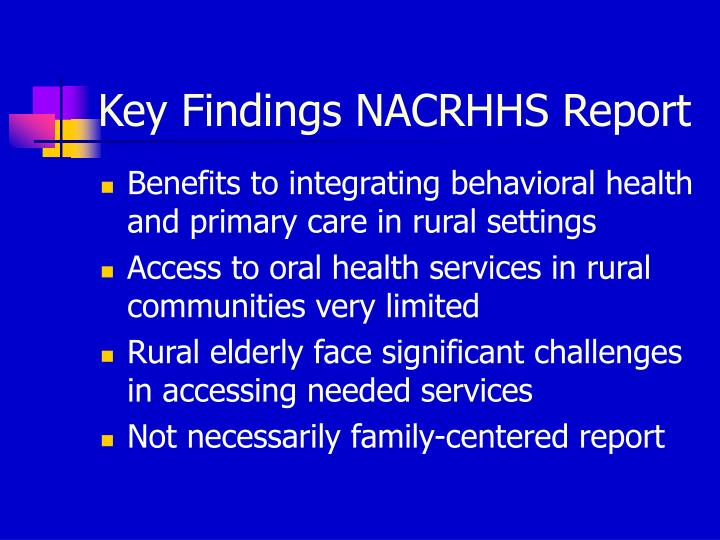 Key Findings NACRHHS Report
