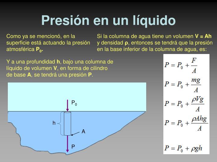 Presión en un líquido