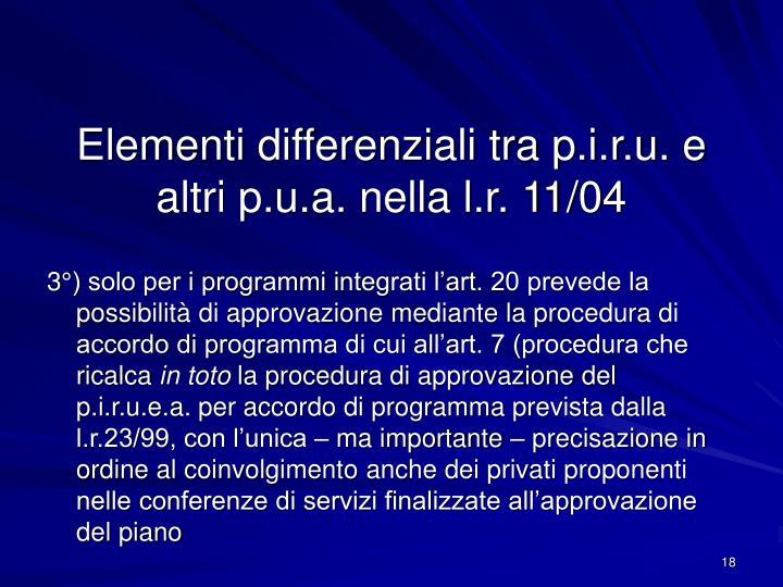 Elementi differenziali tra p.i.r.u. e altri p.u.a. nella l.r. 11/04