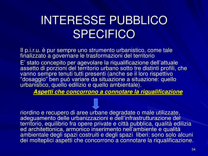 INTERESSE PUBBLICO SPECIFICO