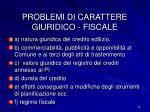 problemi di carattere giuridico fiscale