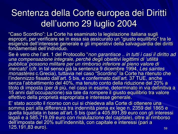 Sentenza della Corte europea dei Diritti dell'uomo 29 luglio 2004