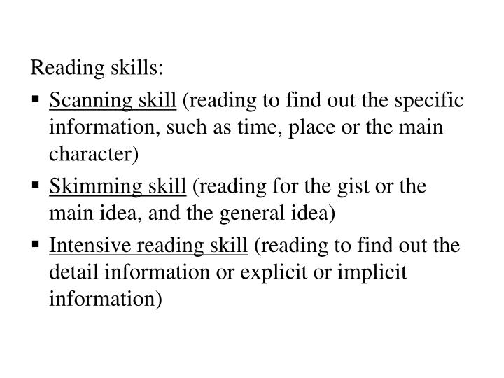 Reading skills: