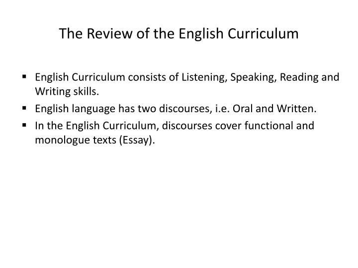 The Review of the English Curriculum