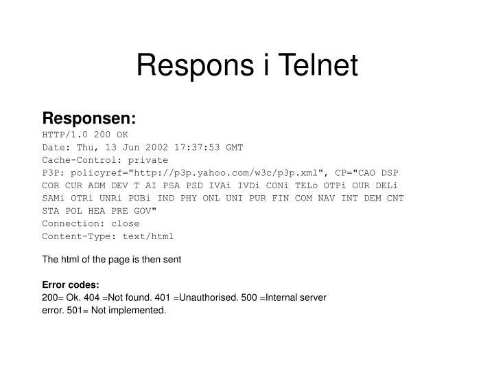 Respons i Telnet
