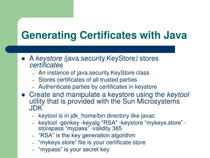 Generating Certificates with Java