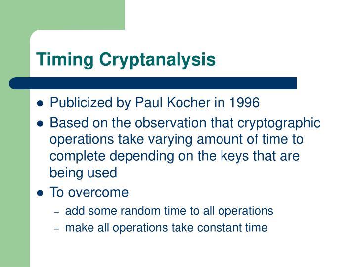 Timing Cryptanalysis