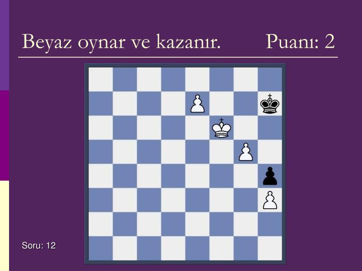 Beyaz oynar ve kazanır.        Puanı: 2