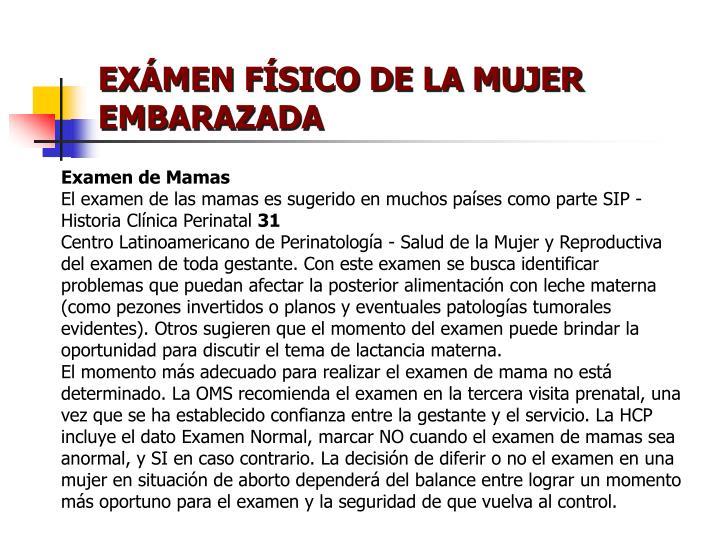 EXÁMEN FÍSICO DE LA MUJER EMBARAZADA
