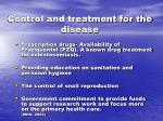 control and treatment for the disease