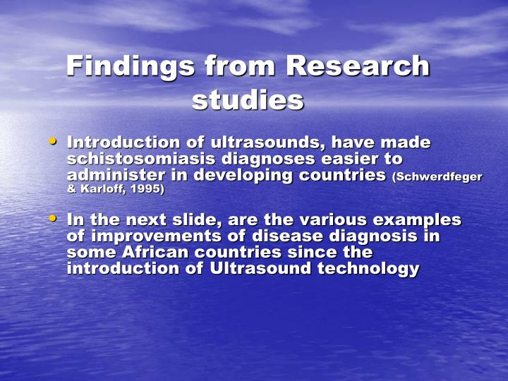 Findings from Research studies