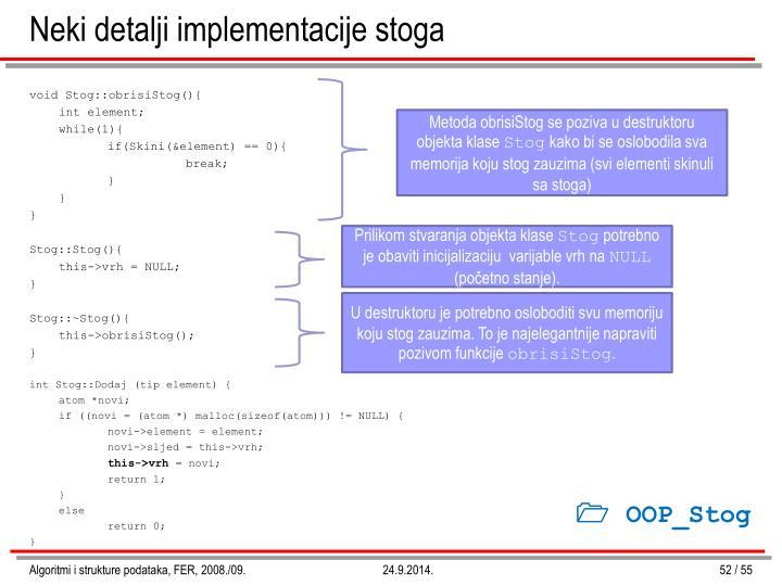 Neki detalji implementacije stoga