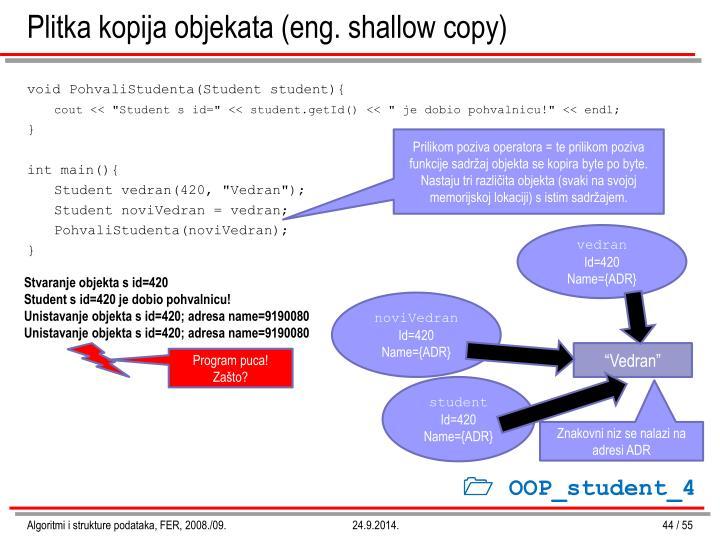 Plitka kopija objekata (eng. shallow copy)