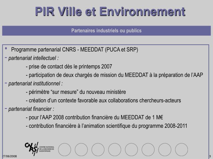 PIR Ville et Environnement
