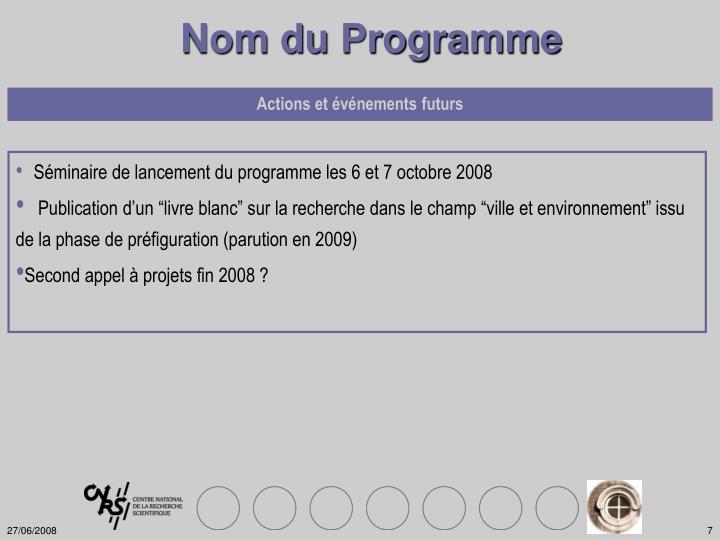 Nom du Programme