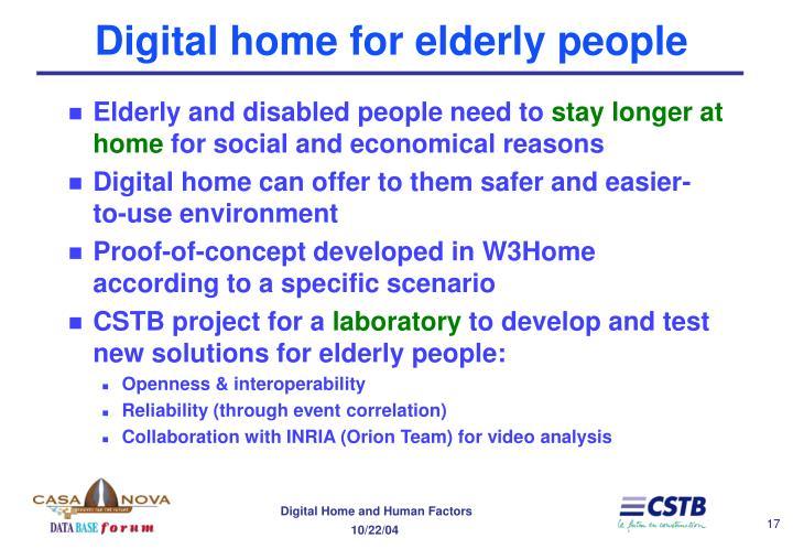 Digital home for elderly people