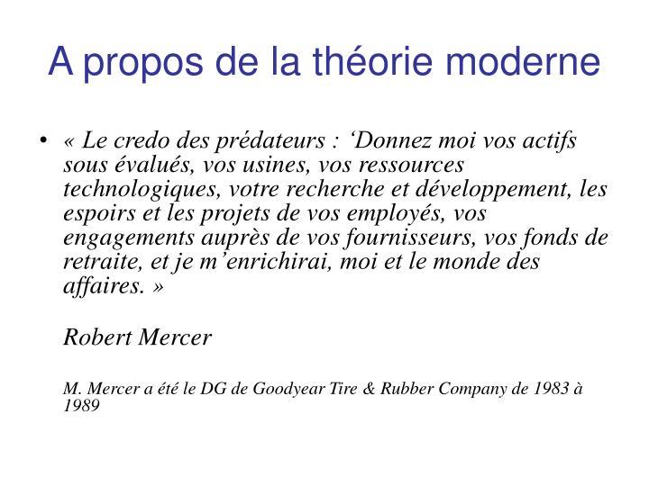 A propos de la théorie moderne