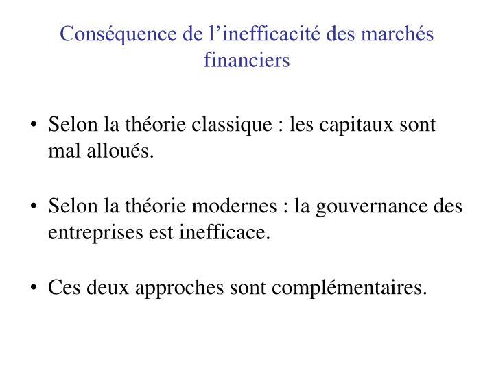 Conséquence de l'inefficacité des marchés financiers